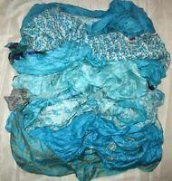 LOT PURE SILK Antique Vintage Sari REMNANT Fabrics 100 GRAMS Aqua #ABLP9