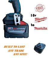 Milwaukee 18v battery adapter to Makita LXT -impact driver, drill, grinder, saw