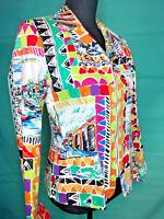 Harvey Bernard women's colorful capris zip front fitted jacket sz 6