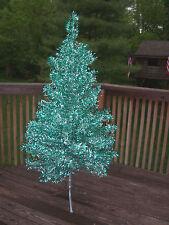 RARE BEAUTIFUL VINTAGE 6 FT EMERALD GREEN SILVER BEAUTIFUL FULL ALUMINUM TREE