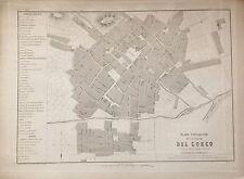 PERÚ,plano de la ciudad de Cuzco.Paz Soldán.Geografía del Perú 1865.