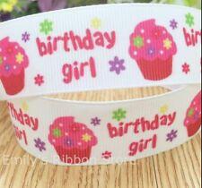"BIRTHDAY GIRL Grosgrain RIBBON 1m x 25mm width (1"") cupcake happy cake buns"