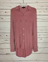 POL Anthropologie Women's S Small Pink Long Sleeve Knit Cute Tunic Top Shirt