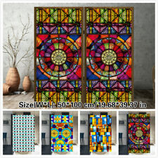 Self-adhesive Window Films Translucent Chapel Stained Glass Stickers Decor