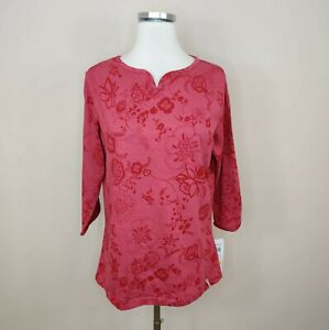 Columbia Women's 3/4 Sleeve Slub Tee Red Floral 100% Cotton L Large