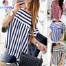 Summer Women Casual O Neck Tops Short Sleeve Striped T Shirt Loose Comfy Blouse