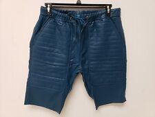 Kite Mens Shorts Vegan Leather Shorts 38 Drawstring Blue