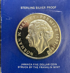 1973 Jamaica $5 Manley / 1.26 Oz Silver Prf in mint packaging & *No Reserve!