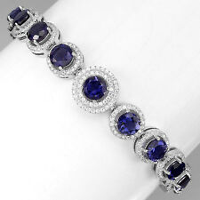 Sterling Silver 925 Genuine Natural Iolite Tennis Bracelet 7.0 to 8.5 Inches