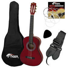 More details for tiger left handed 3/4 red classical guitar package