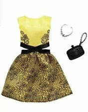 Barbie Fashion Pack Yellow and Black dress with Accessories NIB FXJ08