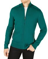 Alfani Mens Sweater Green Size Large L Full Zip Ribbed Knit Mock Neck $75 666