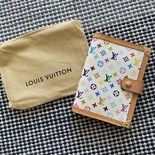 AUTHENTIC LOUIS VUITTON Monogram Multicolor Agenda Cover PM in Blanc R20896