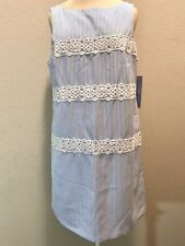 NWT $88 London Times Blue & White Striped Seersucker Lace Sheath Shift Dress 10