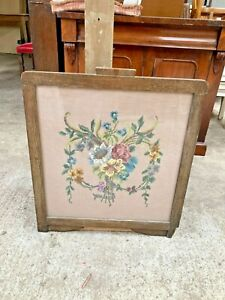 Vintage Antique Wooden Fire Screen Floral Tapestry