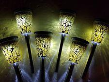 6 MINI MOSAIC LED GARDEN LIGHT SOLAR POWER OUTDOOR PATHWAY DRIVEWAY COLOUR LAMP