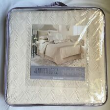 JLO Jennifer Lopez PORCELAIN Quilted COVERLET Size FULL/ QUEEN Ivory Neutral NEW