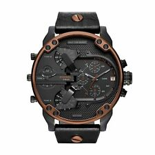 NEW Diesel DZ7400 Mr Daddy 2.0 Black Leather Strap Chrono Watch 57 x 66 mm