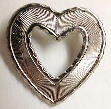 """Silvertone Metal 1 1/4"""" Brooch Pin Heart Jewelry"""