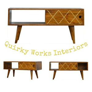 Quirky TV Stand Media Unit Cabinet Retro Danish Style Bronze Inlay Creative
