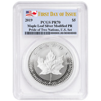 2019 Modified Proof $5 Silver Canadian Maple Leaf PCGS PR70 FDOI Dual Flag Label