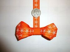 "Grosgrain Ribbon 5/8"" inch Orange White Daisies Flowers Floral THREE yards"