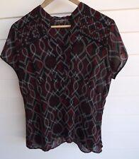 Katies Women's Sheer Black Red Grey & White Blouse Top - Size 14
