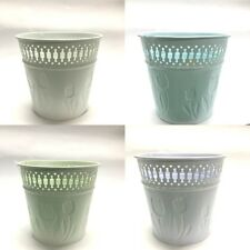 New 2x Small Metal Bucket Tin Pot w Tulip Pattern Wedding Party Home Garden Bulk