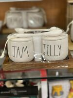 "New RAE DUNN Artisan Collection LL ""JAM"" & ""JELLY"" Jars With Spoons By Magenta"