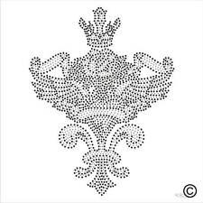 Iron On Rhinestone Motif HEART WINGS CROWN Diamante Transfer Hotfix Gem Crystal