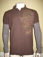 Monarchy Men's PRINTED Long Sleeve Double Layer Polo, M04 BROWN / GREY