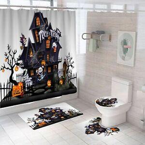 Halloween Ghost Castle Shower Curtain Set Bathroom Mat Non-Slip Toilet Lid Cover