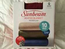 Sunbeam QUEEN Electric Heat Microplush Blanket 10 Heat AutoOff Dual Zone RED