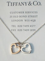 Tiffany & Co Sterling Silver Rose Gold 18K 18Ct Double Heart Link Necklace