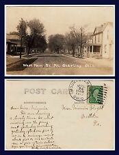 OHIO MT STERLING WEST MAIN STREET REAL PHOTO POSTED 1919 TO BALLSTON VIRGINIA