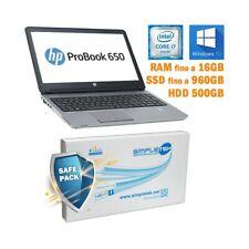 """COMPUTER NOTEBOOK HP PROBOOK 650 G1 I7 4600M 15,6"""" RS232 WINDOWS 10 GRADO B-"""