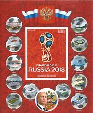BURUNDI 2016 SET SHEET - 12X BLOCK SOCCER WORLD CUP RUSSIA 2018 STADIUMS LEGEND