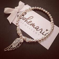 Silver & white jade angel wing beaded bracelet gemstone jewellery boho stacking