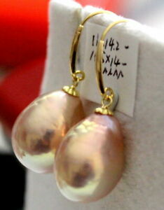 Natural South Sea gold pink  Pearl earrings yellow gold