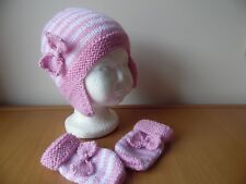 Hand knitted baby girls hat and mittens, pink/white, newborn