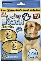 Lucky Leash DOG Collar Magnetic 2-In-1 Retractable Seen on TV Size L/XL