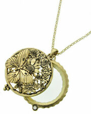 GOLD Butterfly Flower Necklace Magnifying Glass 5X Power Magnifier VALENTINE