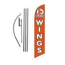 Chicken Wings 15' Feather Banner Swooper Flag Kit with pole+spike