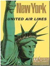"Vintage travel Poster CANVAS PRINT Statue of Liberty New York USA 16""x12"""