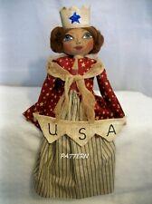 Pattern,Sewing,Primitive dolls,Americana lady, Dumplinragamuffin, #275