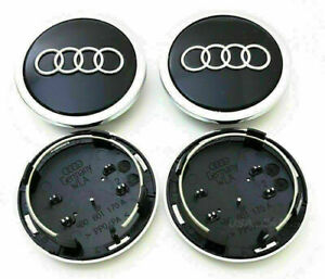 Schwarz Nabenkappen Felgendeckel Alufelgen Für Satz Audi 4 x 69mm