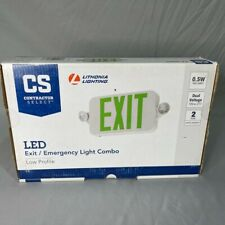 Contractor Select Lithonia Lighting Green Led Exit Emergency Sign New