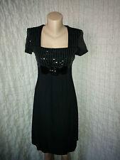 Joseph Ribkoff black empire line dress with patent leather elements size 8 UK