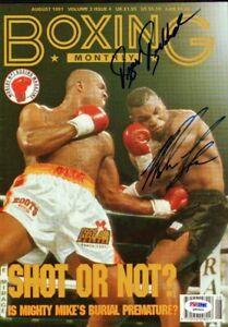 Mike Tyson & Razor Ruddock Autographed Boxing Monthly Magazine Cover PSA Q90503