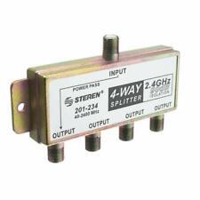 Steren 4-Way 2.4GHz 90dB Power Passing DC Coaxial Splitter 201-234